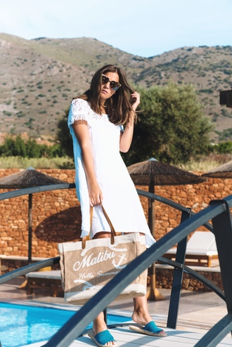 dress tumblr midi dress white dress short sleeve dress bag beach bag shoes sunglasses