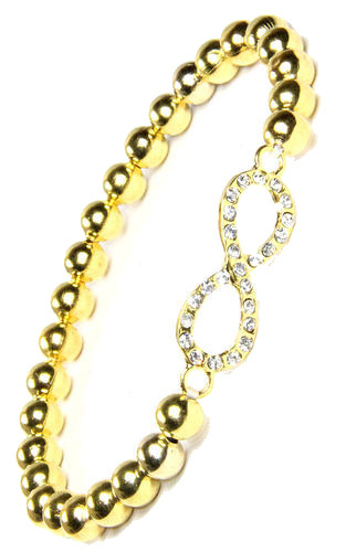 Gold Beaded Infinity Stretchy Bracelet - 2lisasboutique