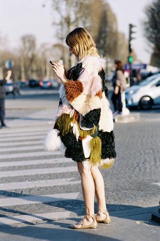 vanessa jackman blogger coat dress shirt faux fur faux fur coat