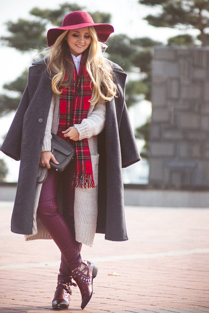 my blonde gal blogger floppy hat cut out ankle boots tartan scarf grey coat coat cardigan bag pants scarf hat shoes