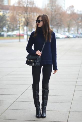 vogue haus blogger sunglasses knee high boots navy satchel bag jeans shoes bag