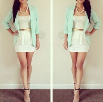 jacket white lace gold belt mint teal boyfriend blazer pearl necklace peplum top white mini skirt sandal heels perfect combination cute outfits spring outfits dress