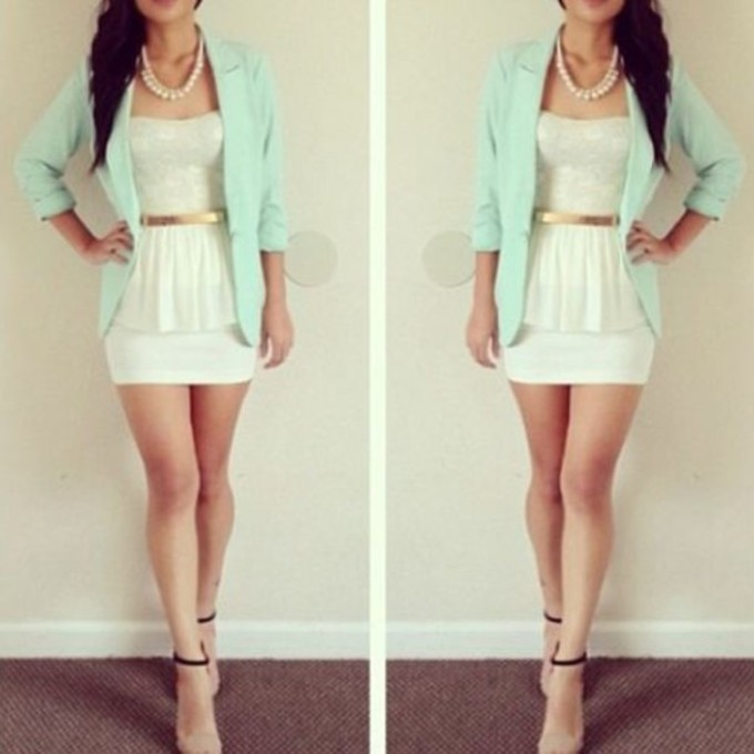 Tumblr White Lace Dress Dress White Lace Mint Spring