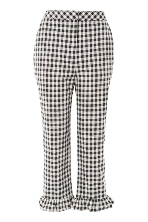 Gingham Frill Hem Trousers - Trousers & Leggings - Clothing