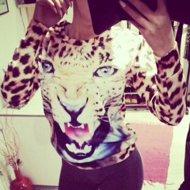 sweater gorgeous sexy tiger lion leopard print animal print sweatshirt animalprint animal face print