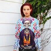 sweater,print,urban,printed sweater,streetwear,streetstyle,fashionista,skeleton,sweatshirt,skull sweater,ootd