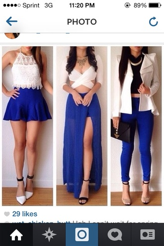 shirt skirt jacket pants blue pants crop top high heels blue pants bag black