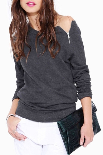 top zip sweater sweatshirt back to school casual casual sweater grey sweater grey zaful dope hipster style fashion scoop neck