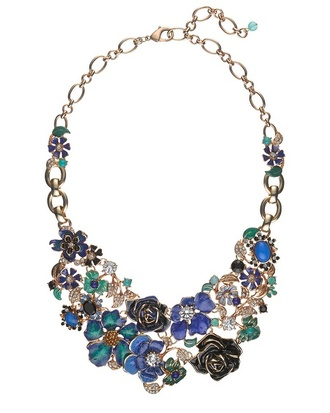 jewels green/blue flower statement necklace necklace