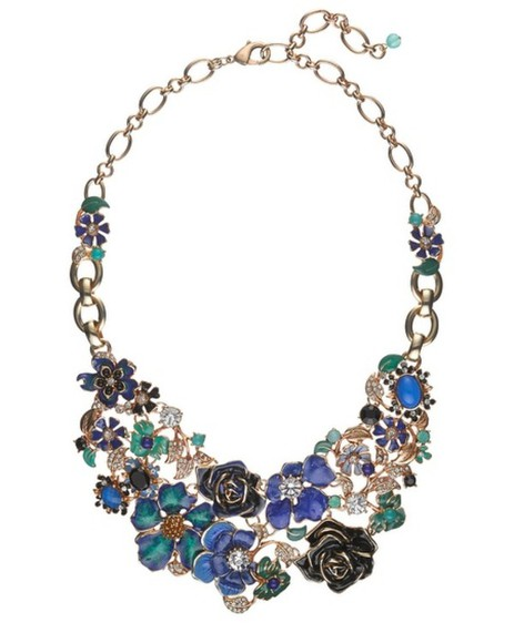 jewels necklace green/blue flower statement necklace