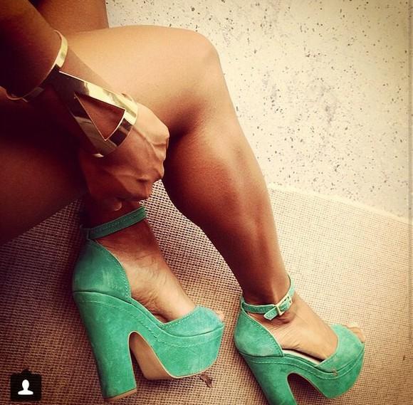 platform shoes high heels green heels open toes strappy heels pumps jewels