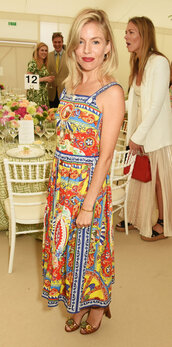 dress,colorful,sienna miller,midi dress,sandals,summer dress,shoes