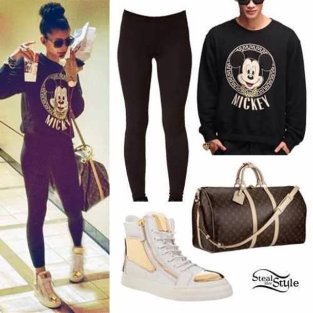 shoes white and gold swimwear sweater shirt zendaya zendaya mickey mouse tights bag zendaya black sweat shirt warm blouse