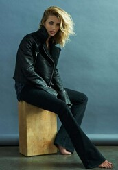 pants,flare pants,flare,rosie huntington-whiteley,jacket,shirt,editorial,kick flare,jeans