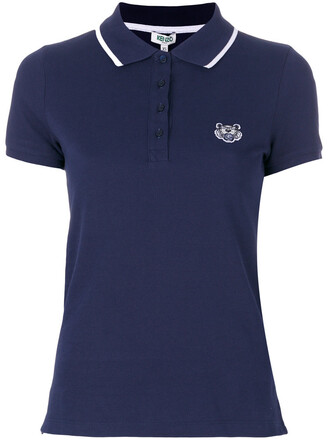 shirt polo shirt mini women tiger cotton blue top