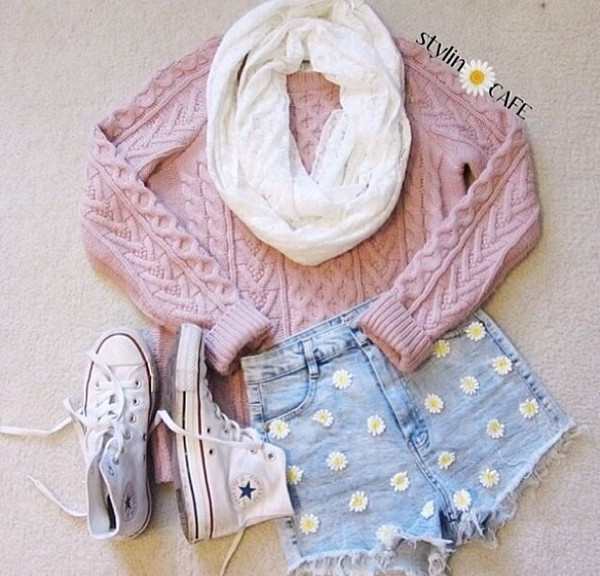 shoes converse white shoes jersey sweater daisy shorts High waisted shorts woman's clothing scarf shorts