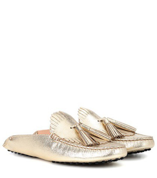 TOD'S metallic slippers leather shoes