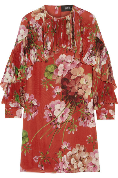 gucci dress mini dress mini floral print silk