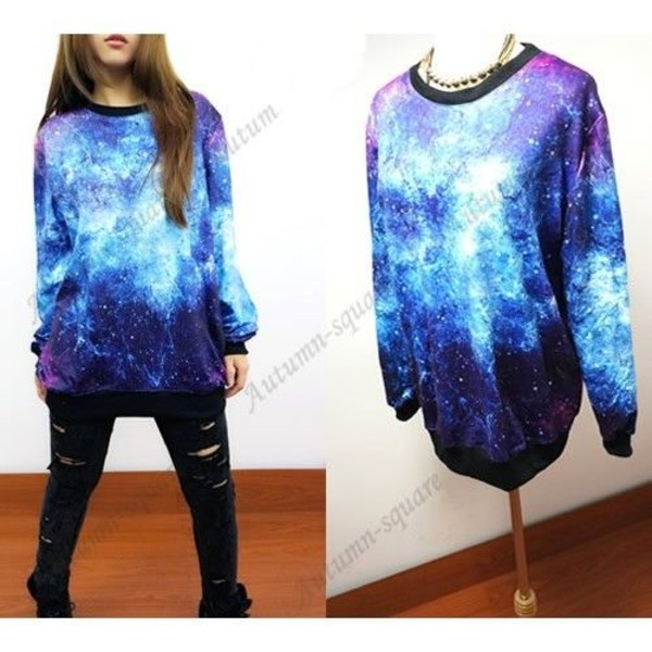 sweater winter outfits blue warm space stars shirt galaxy print jeans