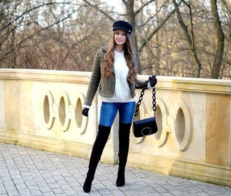 only my fashion style blogger jacket sweater bag gloves shoes winter outfits fisherman cap shoulder bag boots thigh high boots