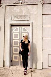 krystal schlegel,blogger,bag,shoes,jeans,t-shirt,chloe bag,tassel,black bag,shoulder bag,black top,black t-shirt,black jeans,sandals,black sandals,wedges,wedge sandals,summer outfits,all black everything,aviator sunglasses