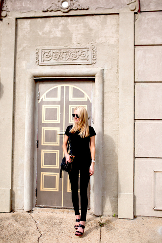 krystal schlegel blogger bag shoes jeans t-shirt chloe bag tassel black bag shoulder bag black top black t-shirt black jeans sandals black sandals wedges wedge sandals summer outfits all black everything aviator sunglasses