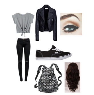 jacket black grey black jacket grey shirt tied cute vans victoria's secret victoria's secret backpack backpack white cute top jeans make-up top shoes bag tie-front top