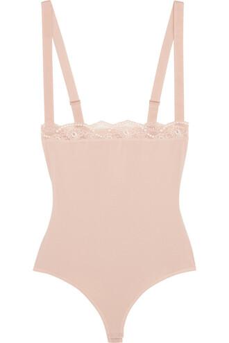 bodysuit lace cotton blush underwear