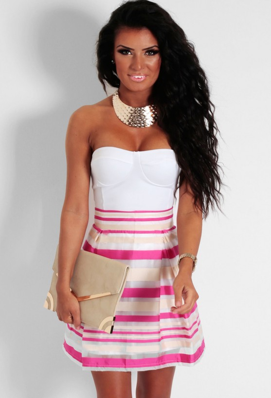 Picnic Pink & Cream Mesh Overlay Skater Skirt | Pink Boutique