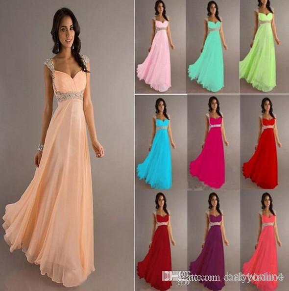 Wholesale Chiffon Dresses - Buy 2014 Cheap In Stock Empire Chiffon Bridesmaid Dress Cap Sleeves Floor Length Backless Coral Evening Gowns Prom Dresses Under $100 DJ8671, $54.3 | DHgate