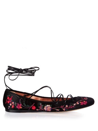 embroidered flats satin black shoes