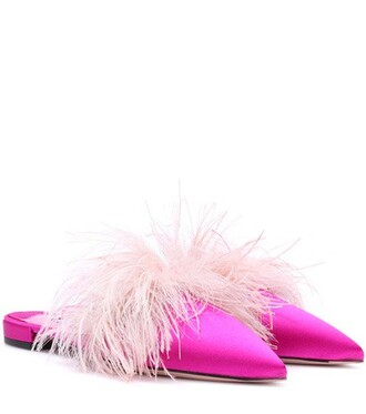 slippers satin pink shoes