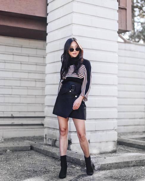 skirt tumblr mini skirt black skirt asymmetrical asymmetrical skirt top stripes striped top boots black boots ankle boots sunglasses