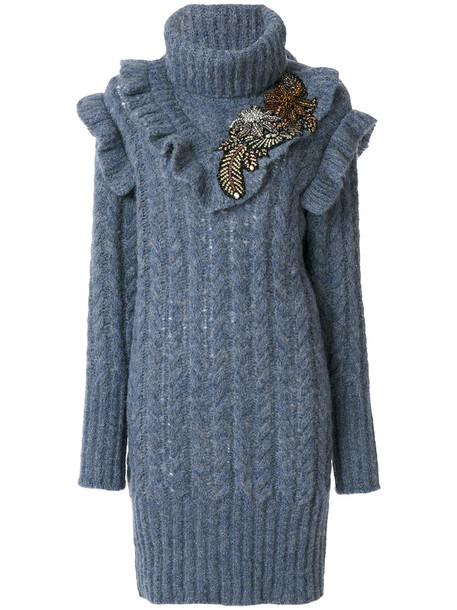 Miu Miu dress knitted dress short women blue silk wool