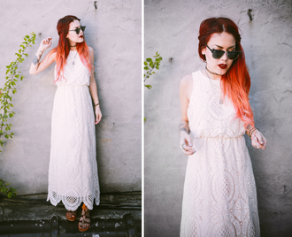 dress lace dress maxi dress summer dress le happy sunglasses sandals blogger shoes