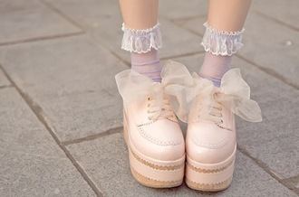 shoes lace socks bows mary jane detail zig zag pattern doll pastel pink shoes kawaii asian fashion