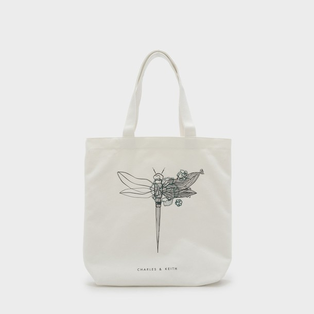 dragonfly bag tote bag white