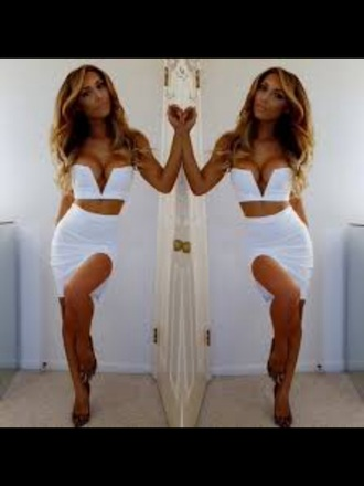 dress white dress two-piece skirt crop tops white summer beautiful sexy long hair sexy dress set