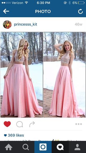 dress pink pink dress prom dress sparkly dress cropped prom long dress long long prom dress baby pink pretty cropped dress