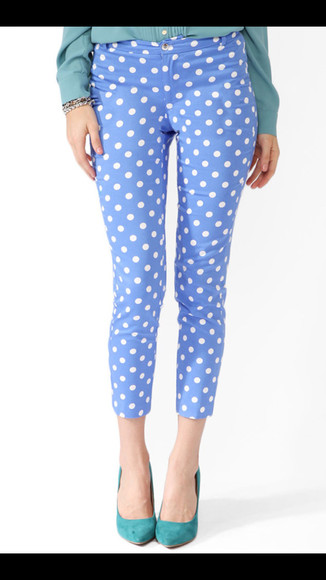 blue pretty cute polka dot white jeans lovely