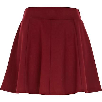 Dark red jersey skater skirt