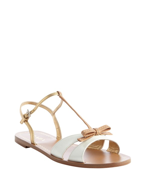 Prada white and gold leather bow tie detail strappy open toe sandals | BLUEFLY up to 70% off designer brands