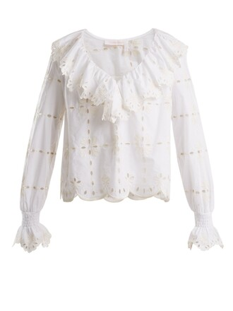 top embroidered geometric floral cotton white