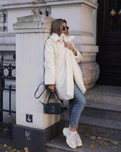 coat,teddy bear coat,oversized coat,white coat,sneakers,platform sneakers,jeans,shoulder bag,round sunglasses