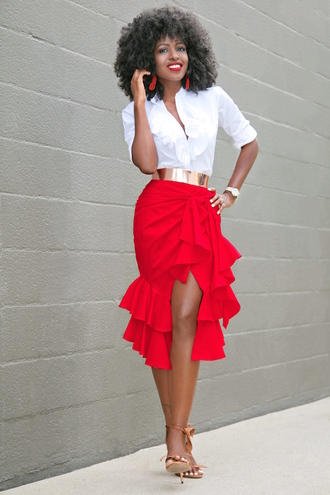 blogger shirt skirt belt shoes earrings white blouse waist belt red skirt ruffle slit skirt sandals sandal heels black girls killin it ruffle skirt white shirt gold belt high heel sandals ruffle shirt wrap ruffle skirt