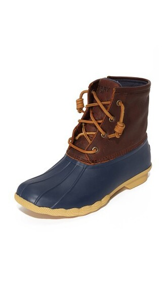 tan booties navy shoes