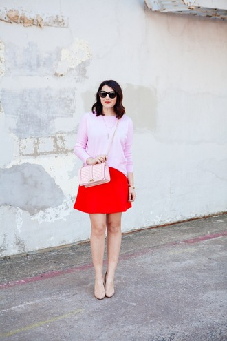 kendi everyday blogger pink sweater red skirt crossbody bag hat home accessory