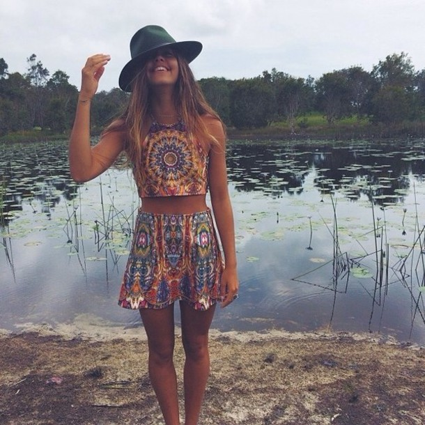 shirt crop tops skirt hat sleeveless tie dye multicolour top singlet blouse  boho hippie crop bohemian 5992c1a2d75