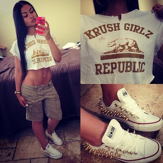 krush girlz republic t shirt converse gold crop tops india westbrooks shorts piercing nice body iphone case cargo khaki pants shoes