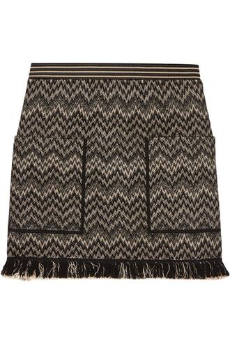 skirt mini skirt mini knit wool crochet black